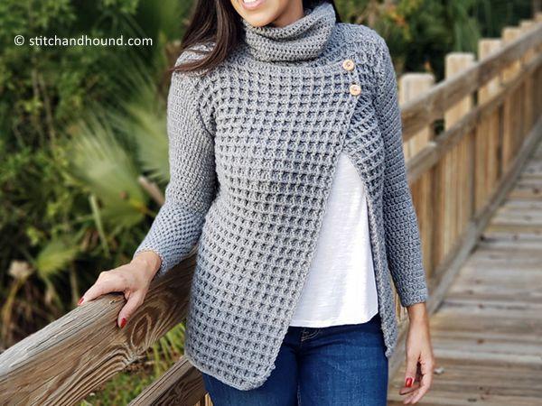 crochet Breakfast in Bed Waffle Stitch Sweater free pattern
