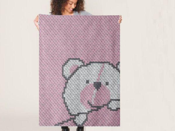 crochet C2C Teddy Bear Baby Blanket free pattern