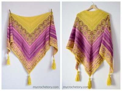 crochet Carina Mosaic Shawl free pattern