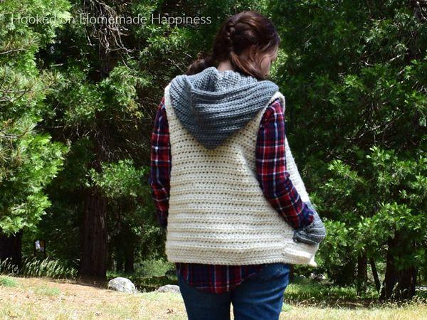crochet Hooded Sweater Vest free pattern