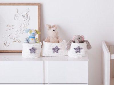 crochet NURSERY STORAGE BASKET SET free pattern