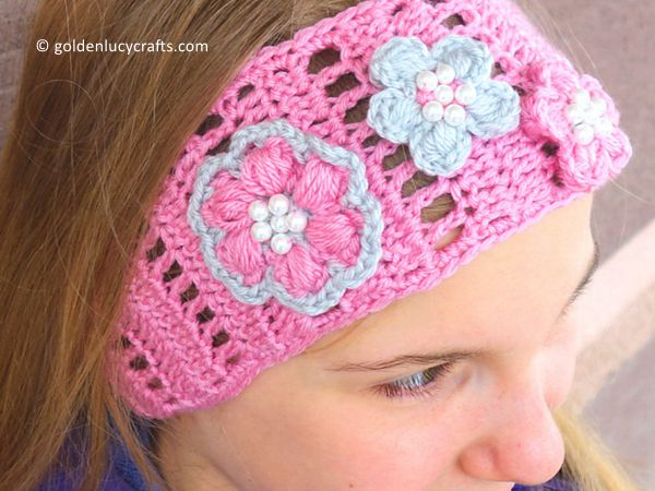 crochet Spring Blossom Headband free pattern
