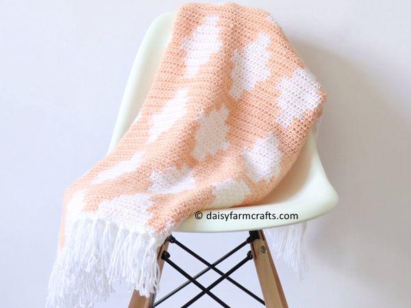 Crochet Block Diamond Blanket free pattern