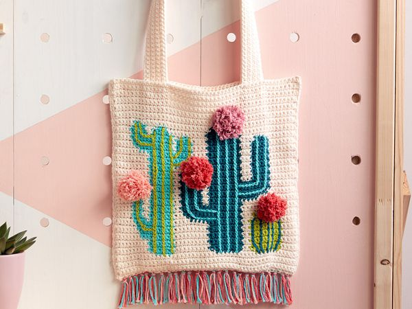 crochet Cactus Tote free pattern