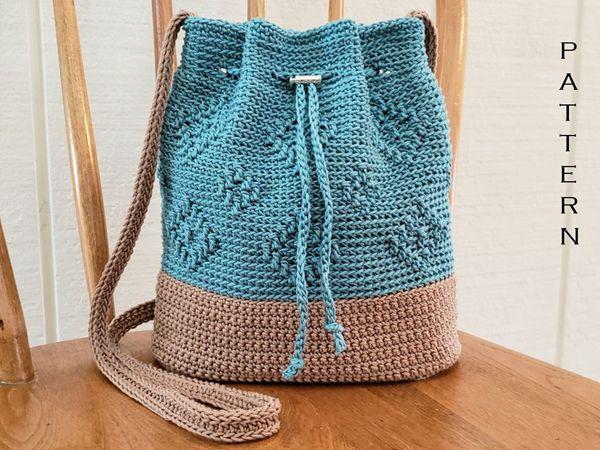 crochet Diamond Drawstring Bag easy pattern