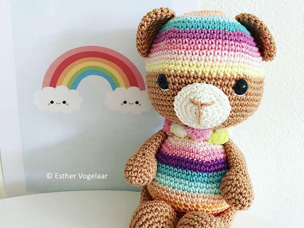 crochet Essie Rainbow Bear free pattern