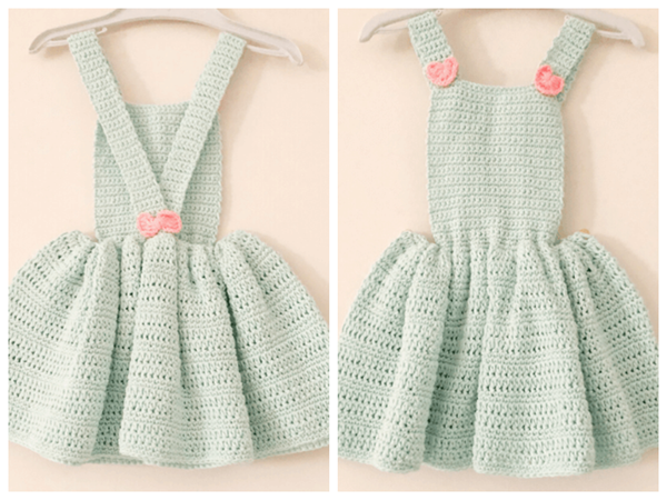 crochet Little Heart and Bow Dress free pattern
