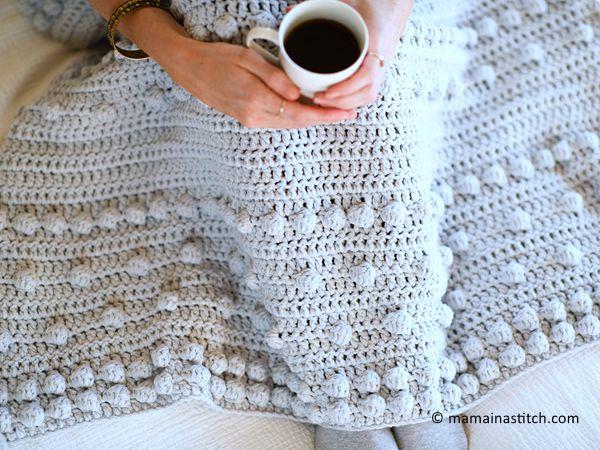 crochet Luxe Bobbles Throw Blanket free pattern