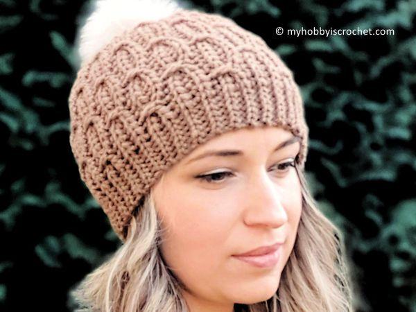 crochet Mock Cable Hat free pattern