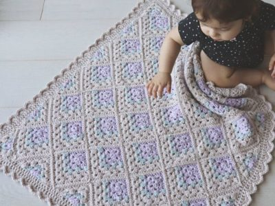crochet Modern Mitered Granny Square Blanket easy pattern