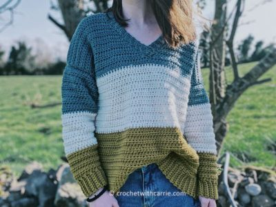 crochet Oversized V Neck Sweater free pattern