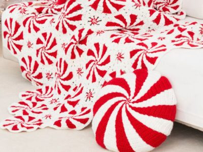 crochet PEPPERMINT THROW AND PILLOW free pattern