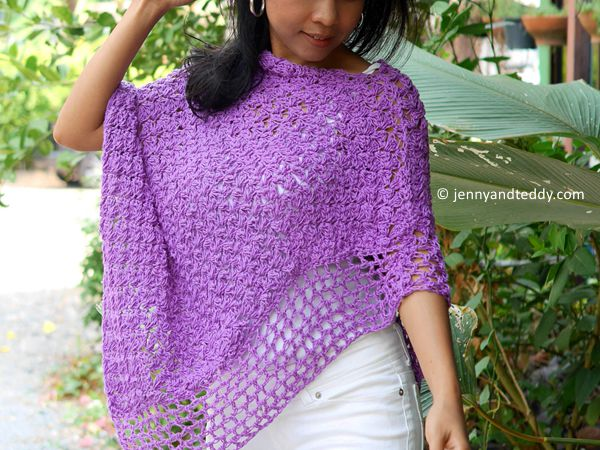crochet Purple Poncho Wrap free pattern