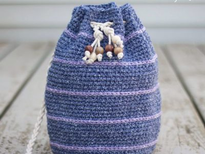 crochet Simple Drawstring Bag free pattern