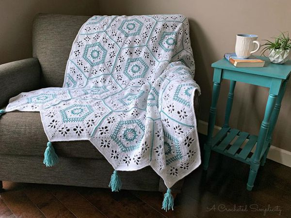 crochet Succulent Spring Hexagon Afghan easy pattern