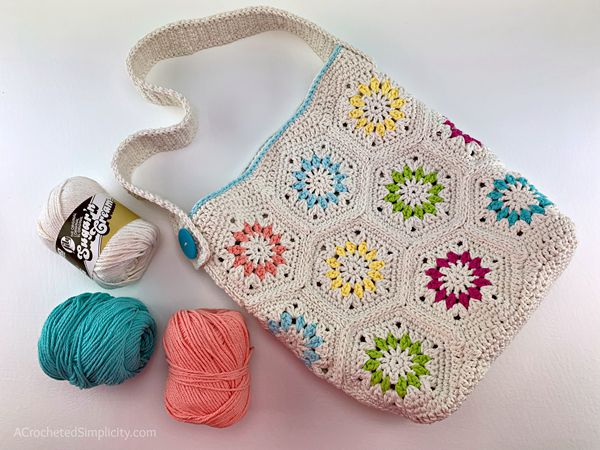 crochet Summer Retro Tote Bag free pattern