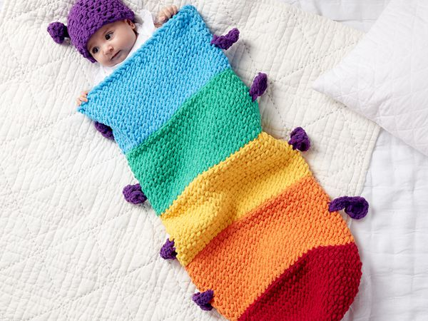 CATERPILLAR CROCHET SNUGGLE SACK free pattern