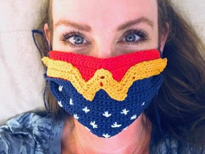 Wonder Woman Crochet Face Mask Cover free pattern