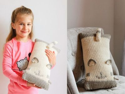 crochet Cat Cuddler Travel Neck Pillow free pattern