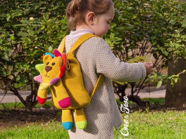 crochet Logan the Lion Backpack easy pattern