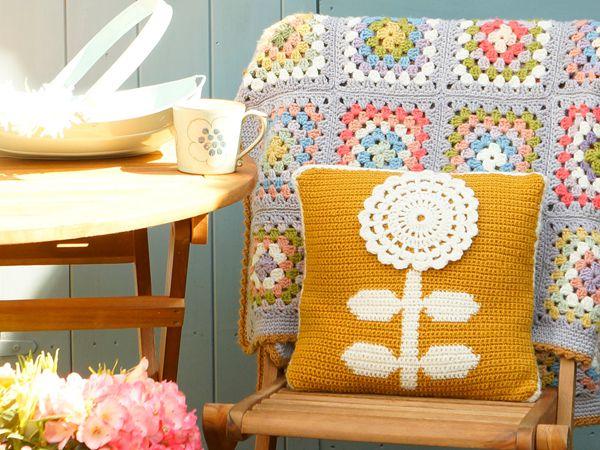 crochet Mustard Flower Cushion easy pattern