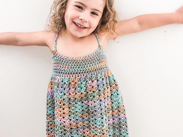 crochet Over the Rainbow Cotton Dress free pattern