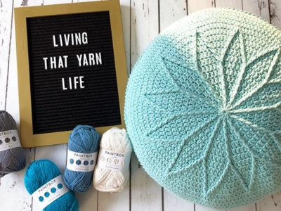 crochet Rosewheel Cushion easy pattern