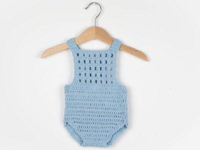 crochet Blue Orchid Baby Romper easy pattern