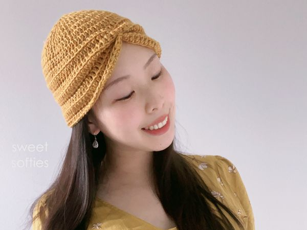 crochet Easy Ribbed Turban with Bow free pattern