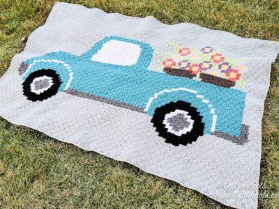 crochet Flower Truck C2C Blanket free pattern