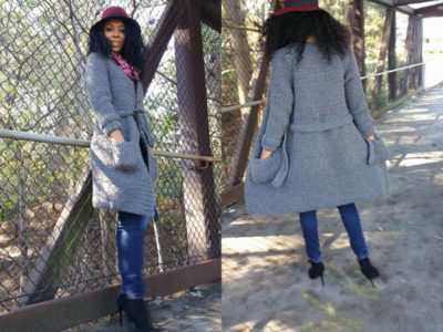 crochet Knee-length Coat with Roomy Pockets easy pattern