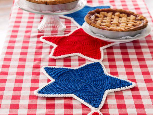 crochet STAR TABLE RUNNER free pattern