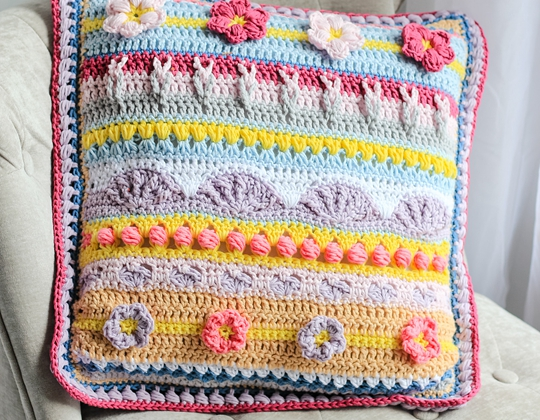 crochet Spring Rhapsody Pillow free pattern