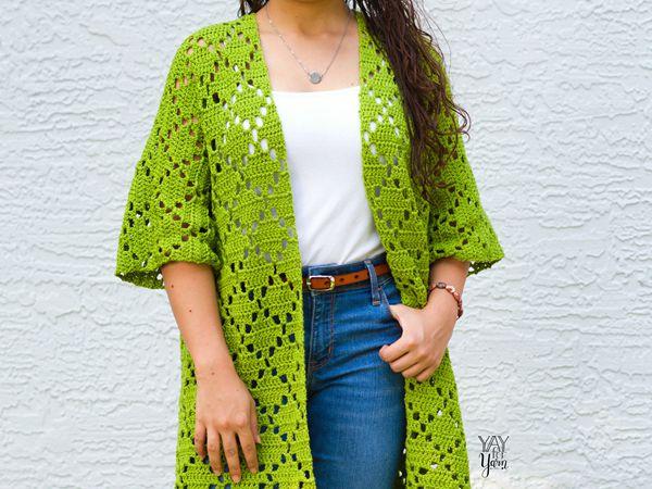 crochet Diamond Cardigan free pattern