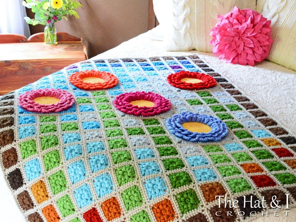 crochet Garden Mosaic Flower Blanket easy pattern