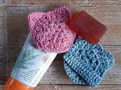 crochet Kitty Face Scrubbie free patern