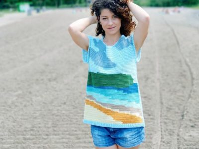 crochet My Happy Place Tee free pattern
