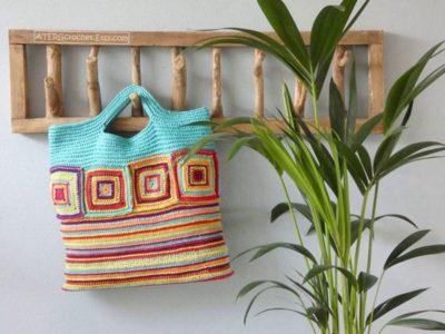 crochet SQUARE STRIPED BAG free pattern