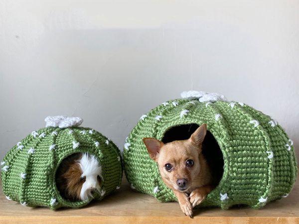 Crochet Round Cactus Dog House easy pattern
