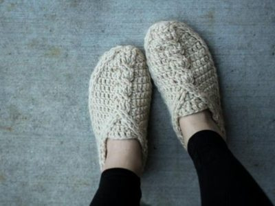crochet Cable Slippers easy pattern