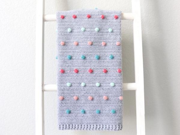 crochet Colorful Polka Dots Baby Blanket free pattern