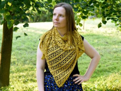 crochet Goldenrod Shawl free pattern