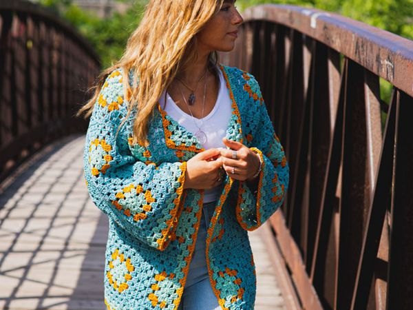 crochet Granny Square Jacket free pattern