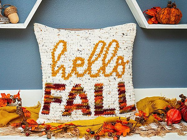 crochet Hello Fall Pillow Cover free pattern