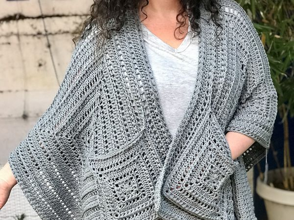 crochet Lazy Diamond Boho Pocket Shawl free pattern