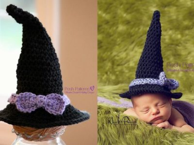 crochet Newborn Baby Witch Hat easy pattern