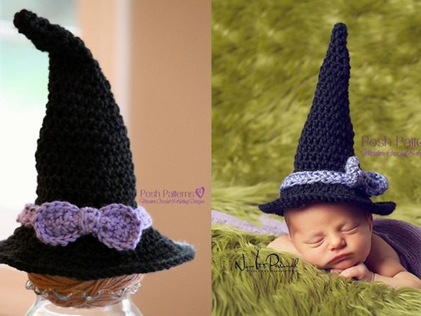 crochet Newborn Baby Witch Hat easy pattern