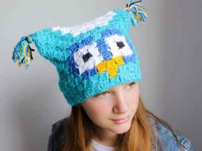 crochet Owl C2C Sack Hat free pattern
