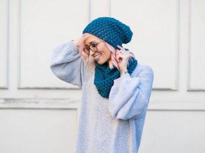 crochet Perfectly Puff Beanie Cowl Set free pattern