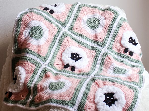 crochet Sheep Granny Square Blanket free pattern
